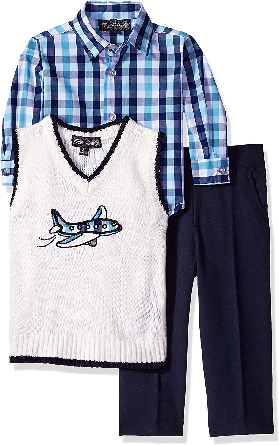 English Laundry Boys' Toddler 3 Piece Applique Sweater Vest, Sport Shirt, Pant Set