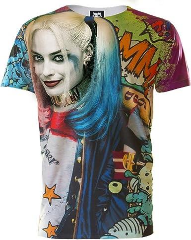 Suicide Squad - Camiseta Estilo Grafitti con Harley Quinn para Hombre