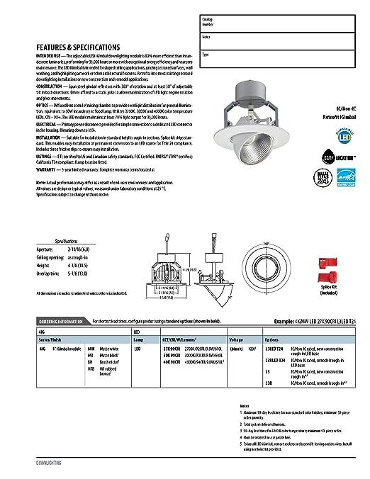 Amazon.com: Lithonia Lighting 4IGMW LED 30K 90CRI M6 640 lm 3000K LED iGimbal Module, 4