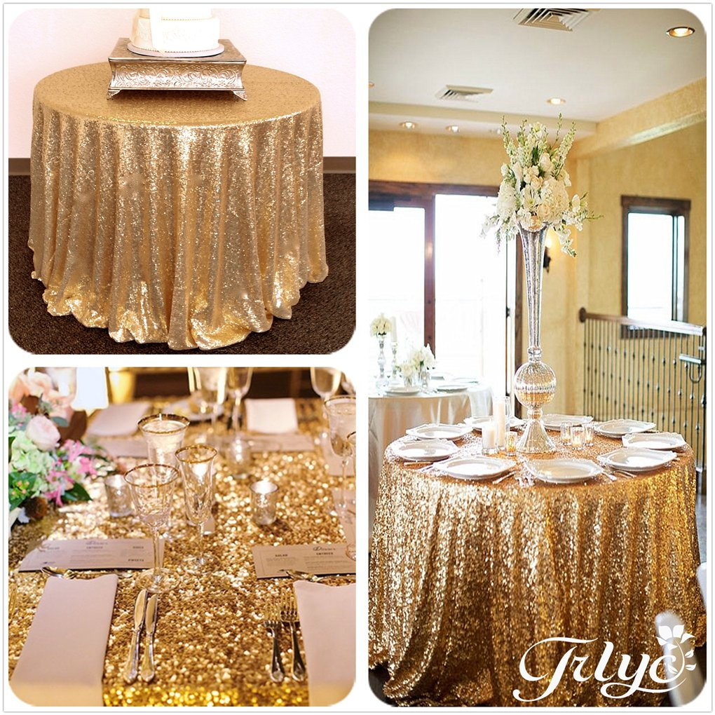 132'' Round Sparkly Gold Sequin Table Cloth Sequin Table Cloth,Cake Sequin Tablecloths, Sequin Linens for Wedding by TRLYC