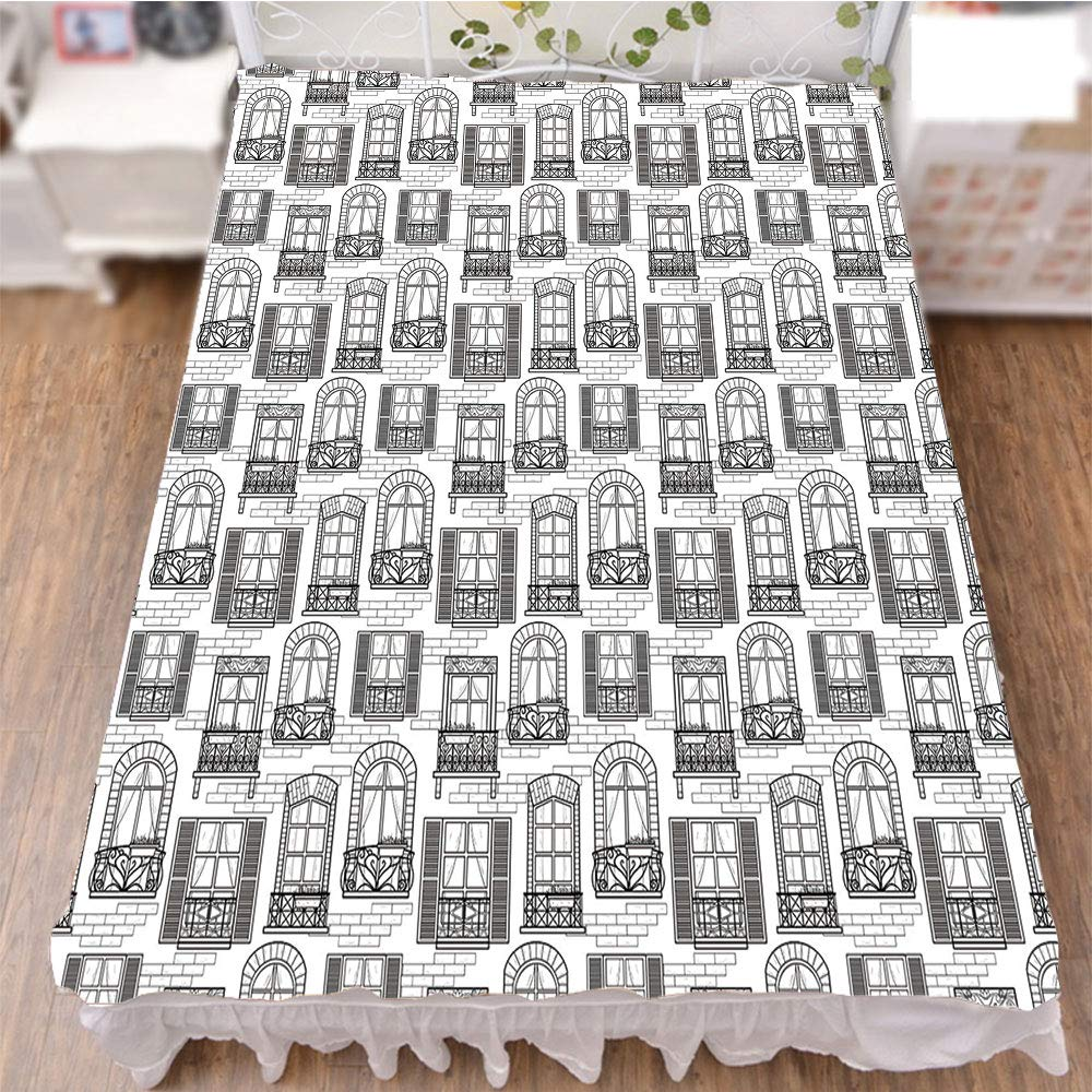 iPrint Bed Skirt Cover 3D Print,Urban Architecture European Windows City Town,Fashion Personality Customization adds Color to Your Bedroom. by 70.9''x94.5''