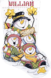 Tobin DW5409 14 Count Let it Snow Stocking Counted Cross Stitch Kit, 17-Inch Long