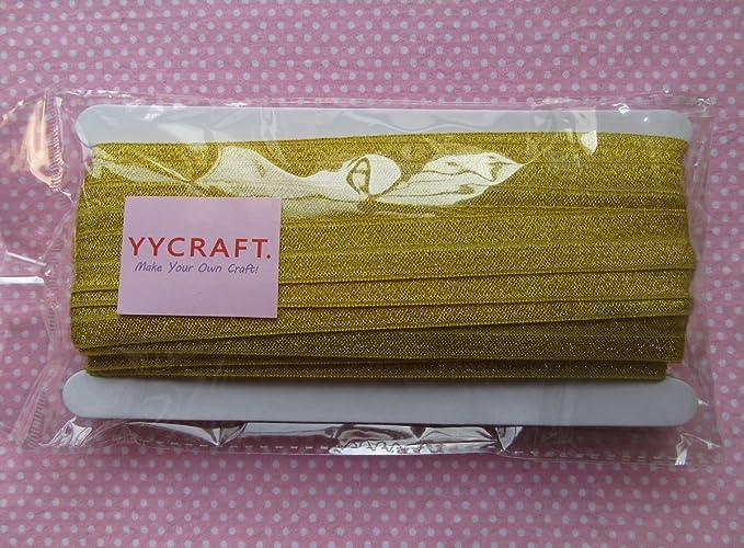 Flat Sewing Supplies Fun DIY Hair Tie Making FOE 58 inch FOE Soft Printed Elastics Gold and Cream Quatrefoil Print Fold Over Elastic