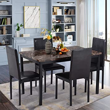 Lumisol 5 Piece Dining Table Set For Small Space Rectangular Faux Marble Top Table And 4 Leather Chairs For Kitchen Room Dining Room Table Chair Sets