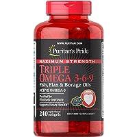 Puritan's Pride Maximum Strength Triple Omega 3-6-9 Fish, Flax & Borage Oils, 240ct