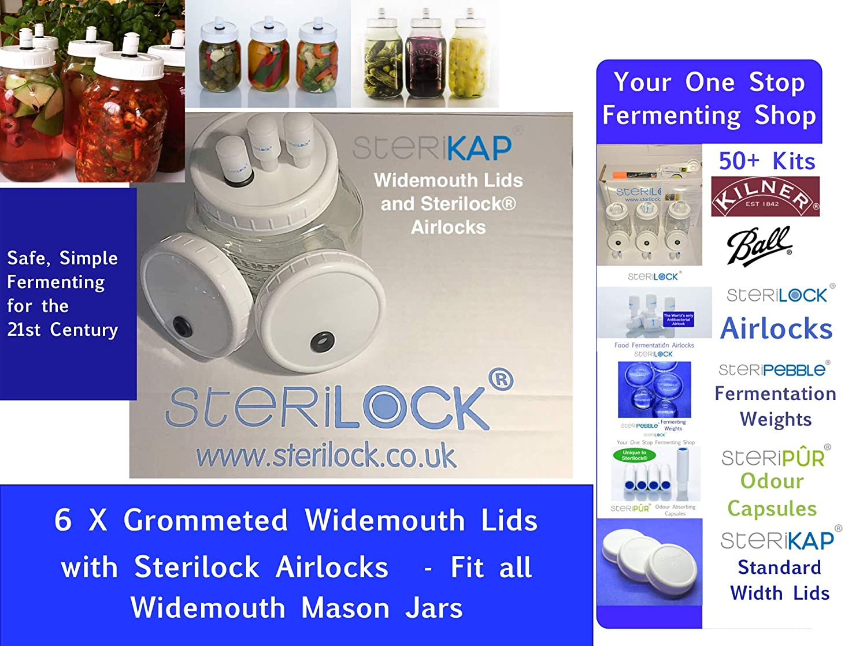 all standard mouth Jars Ball Mason Sterilock 8 x SteriKAP Lids to fit Kilner