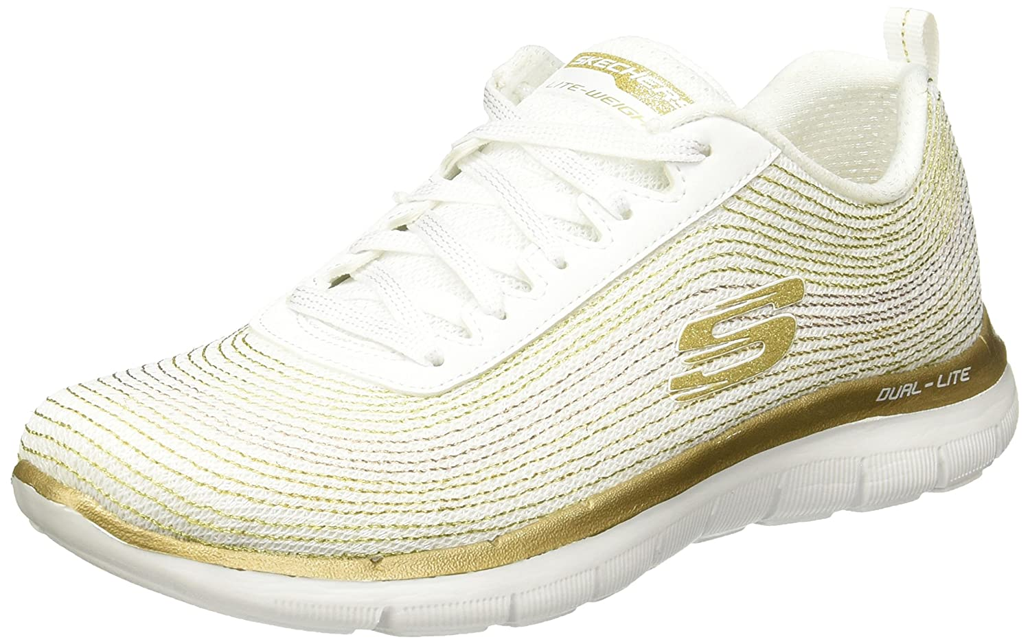 Skechers Women's Low Shoes Sneakers 12764 Gray B01FXHVVCA 8.5 B(M) US|White/Gold