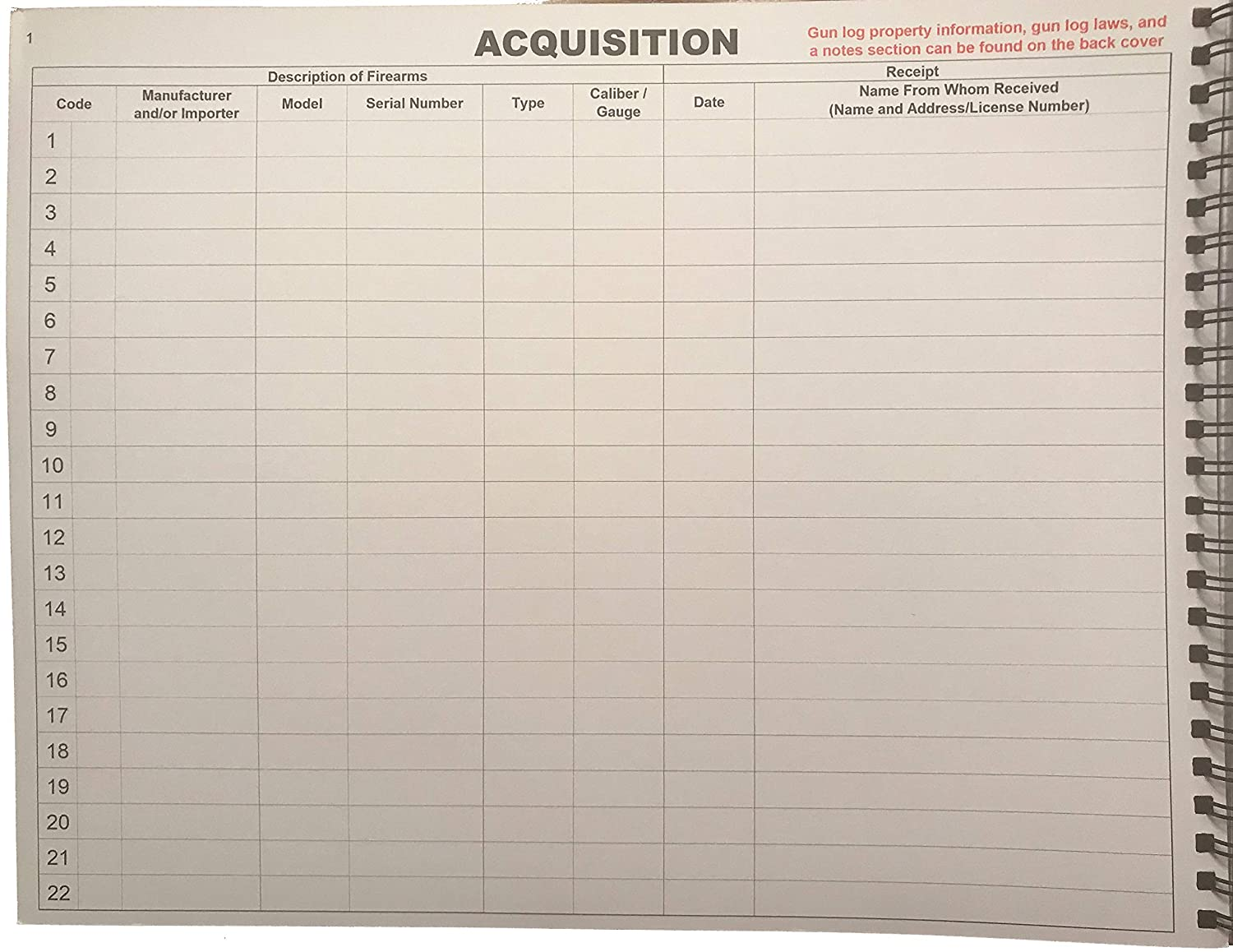 Amazon.com : Bound FFL Firearms Record Book - 11x8.5 Wire-O Book with 1012  Entries : Office Products
