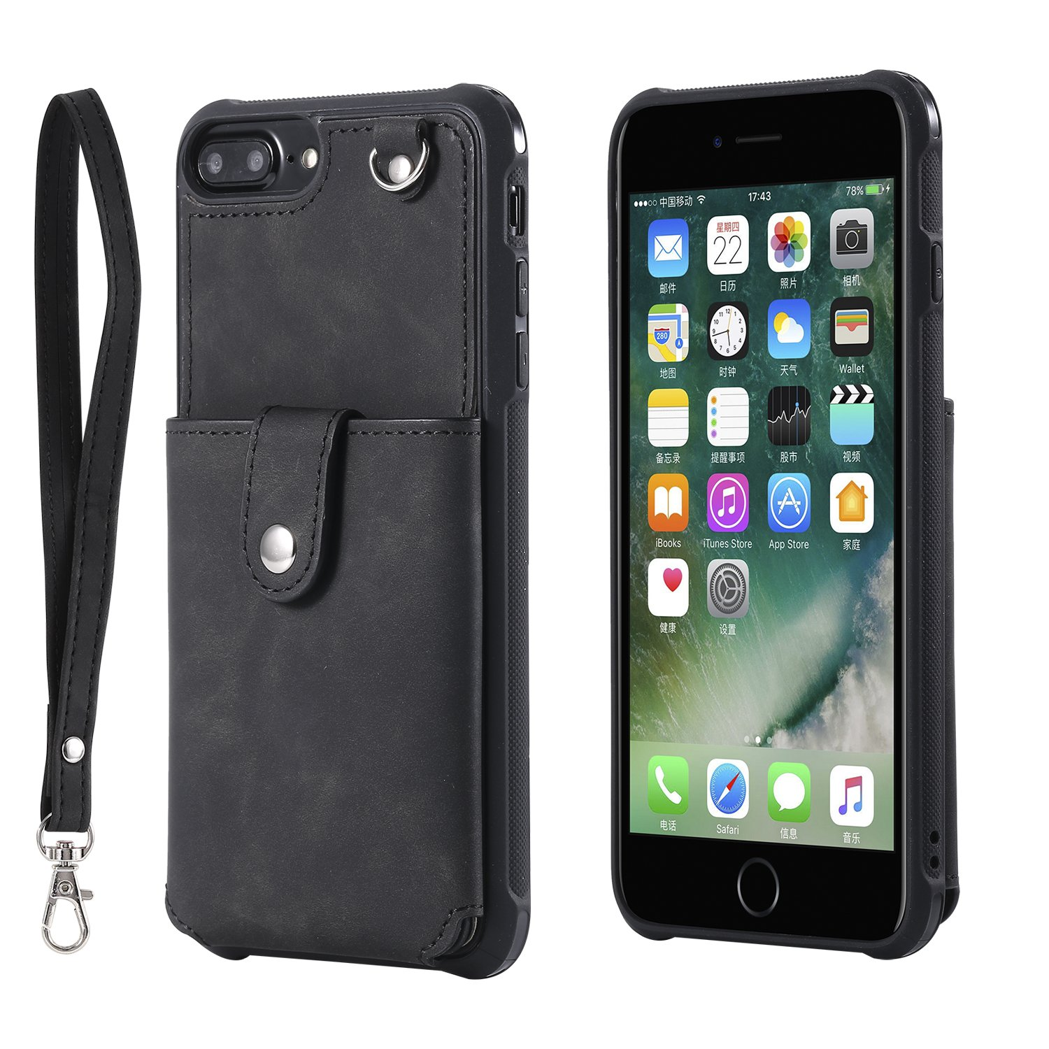 DAMONDY for iPhone 7 Plus Case,Wallet Purse Card Package Mirror Holders Design Magnetic Cover Soft Shockproof Bumper Flip Leather Kickstand Clasp Wrist Strap Case for iPhone 8 Plus-Black by DAMONDY