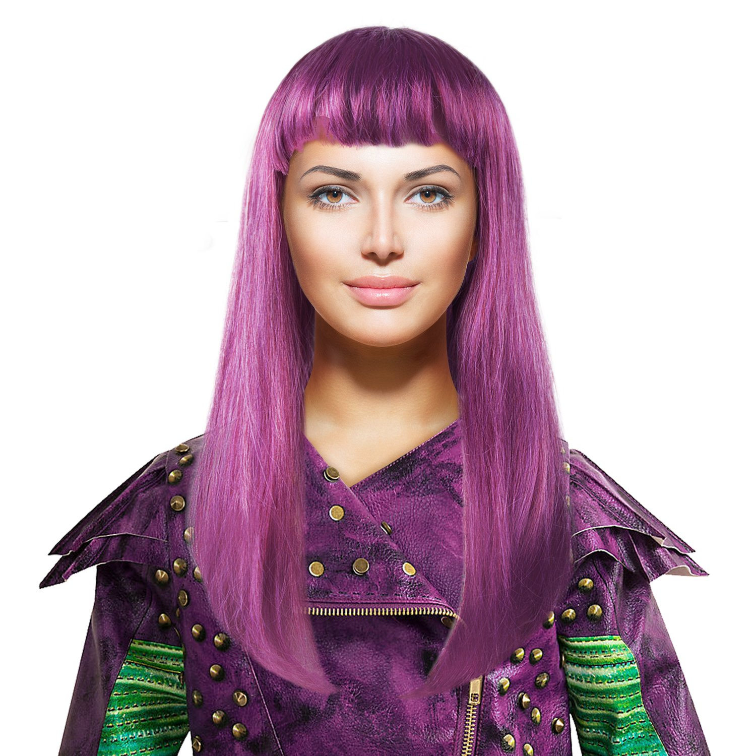 Cece Descendants 2 Mal Style Wig Purple Hairpiece w/Wig Cap Cosplay Costume Party For Women Girls