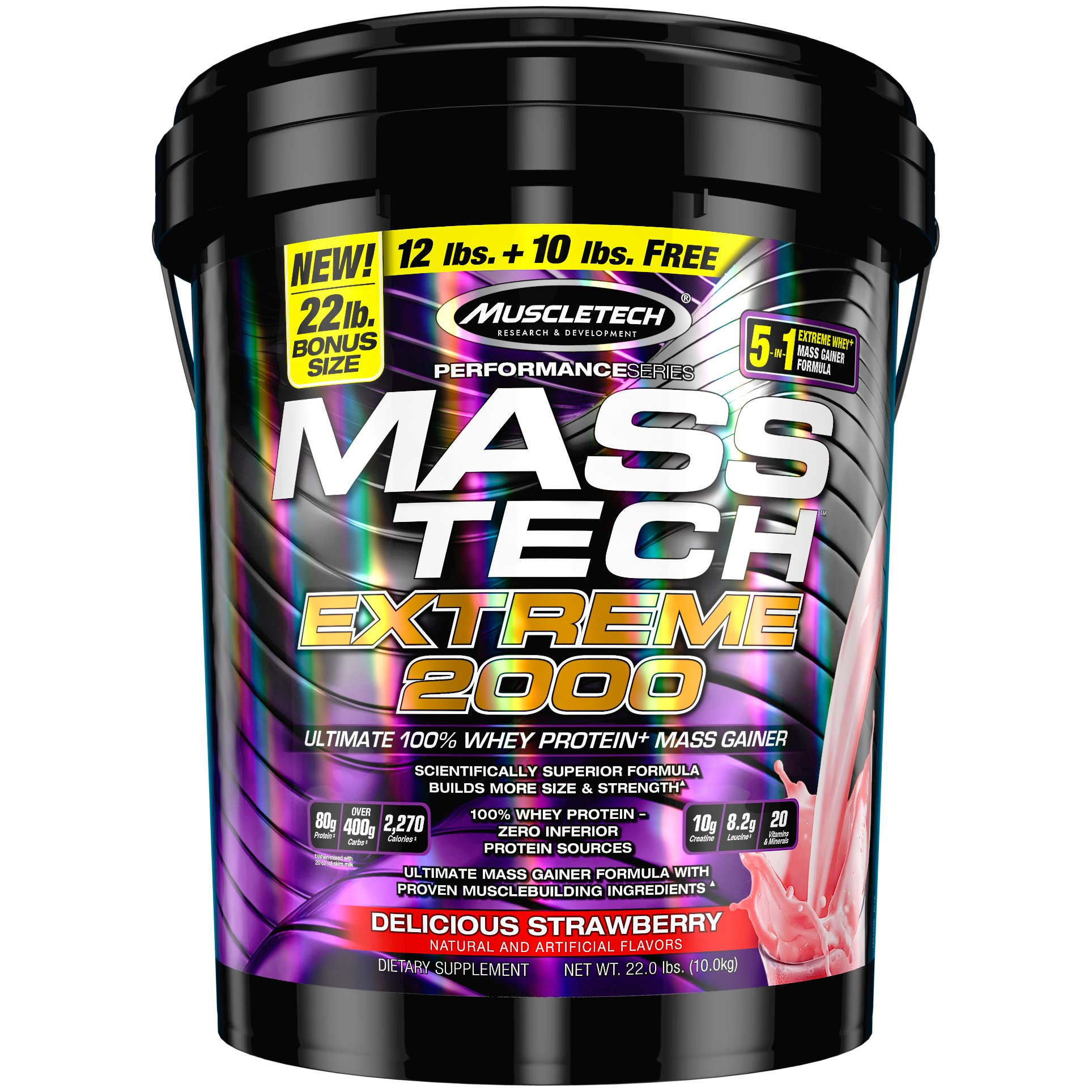 MuscleTech Mass Tech Extreme Weight Gainer Protein Powder, Strawberry, 22lbs (10kg)