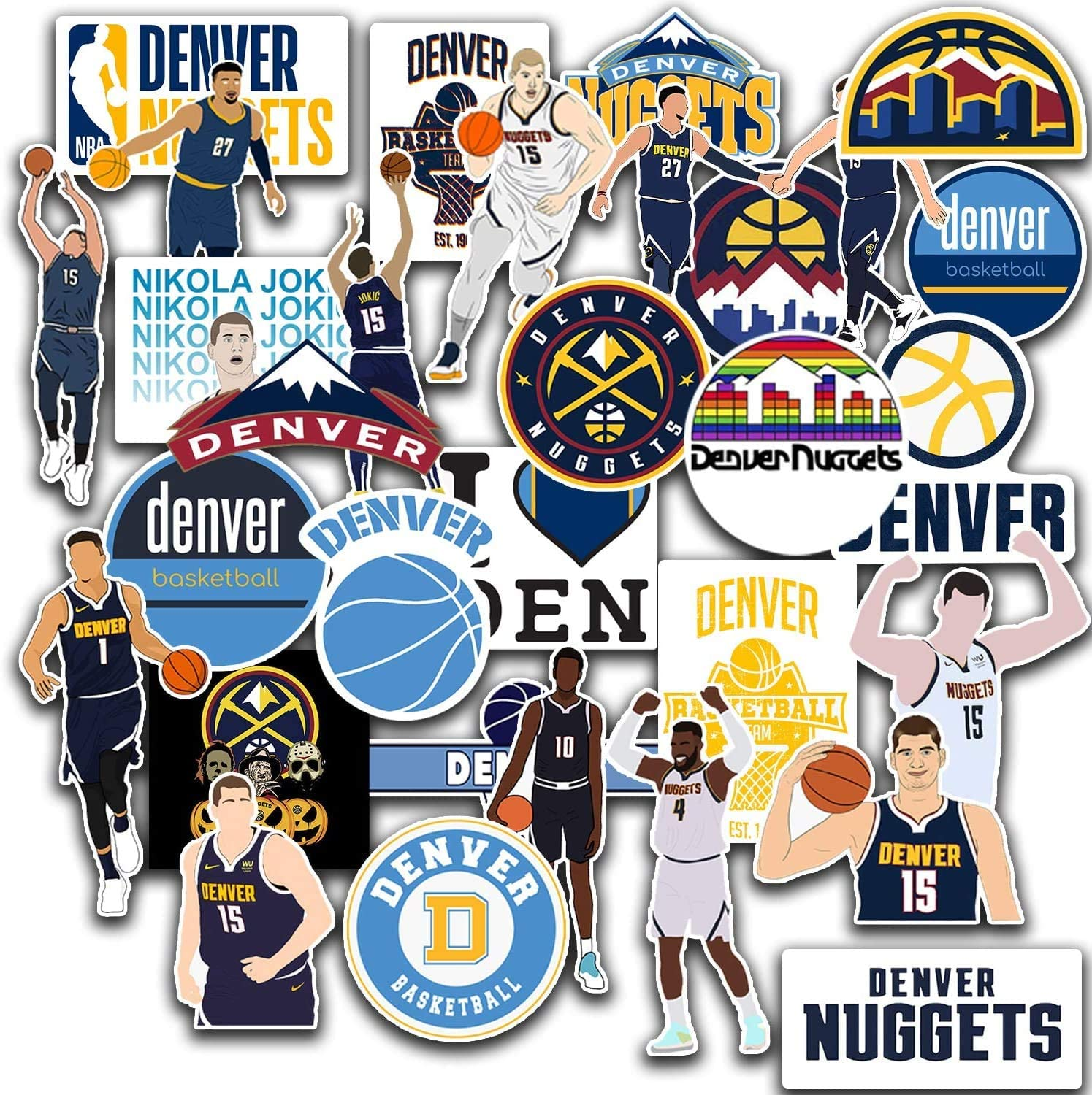 31 PCS Set of Denver Decal Nuggets Stickers Pack Denver Vinyl Nuggets 2-2.5 inches