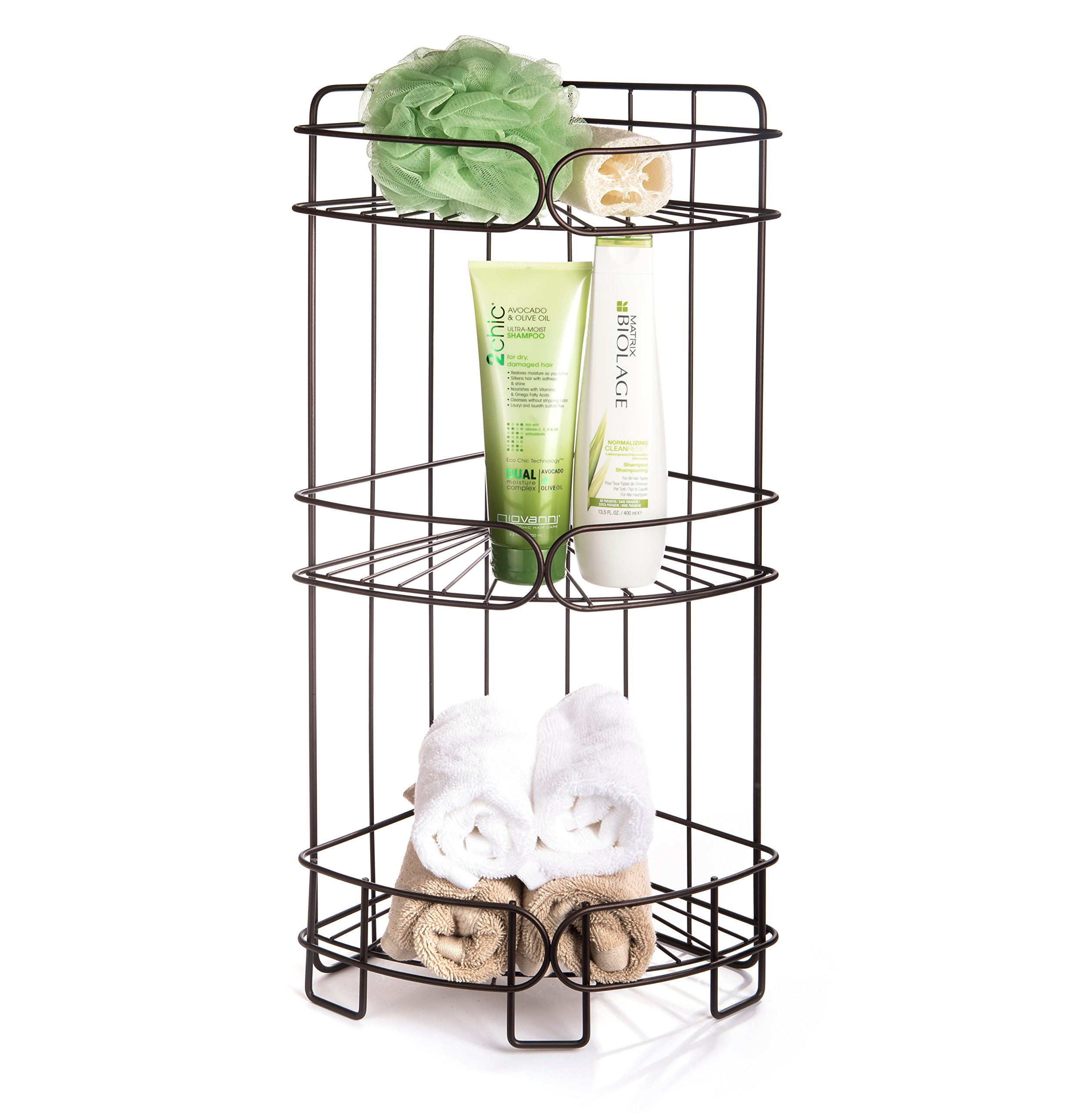 AMG and Enchante Accessories Free Standing Bathroom Spa Tower Storage Caddy, FC100004 ORB, Oil Rubbed Bronze