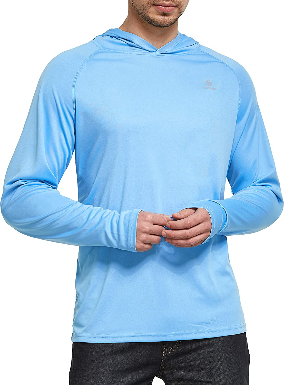 Ogeenier Camisetas de Manga Larga Hombre con Capucha Protecci/ón Solar UV UPF 50+