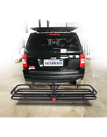 newest 41e5a 35e39 OrionMotorTech Hitch Mount Steel Cargo Carrier Luggage Basket, Fits 2