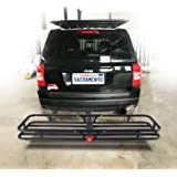 "OrionMotorTech Hitch Mount Steel Cargo Carrier Luggage Basket, Fits 2"" Receiver Hitch Hauler (Max. Load Capacity: 500 lb…"