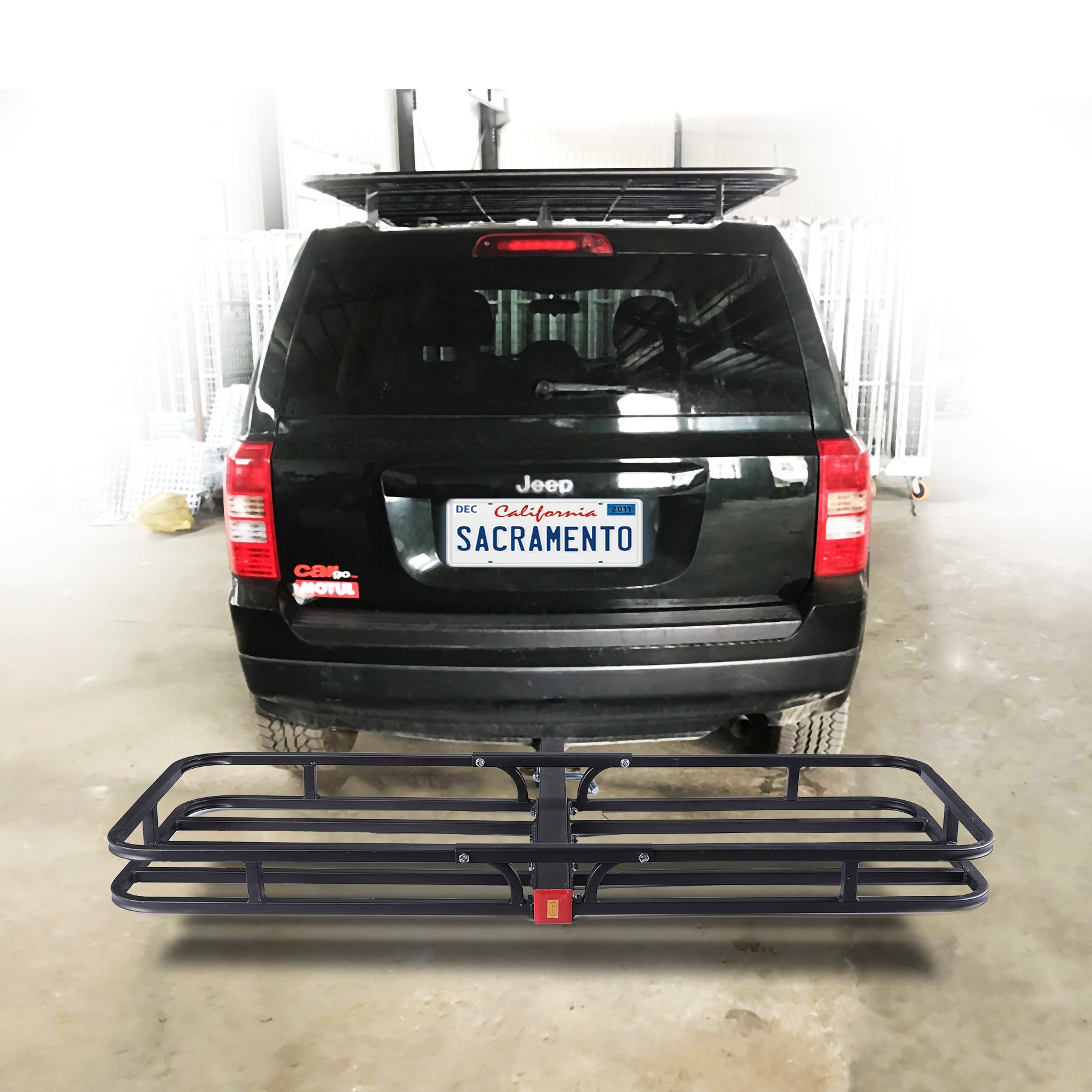 OrionMotorTech Hitch Mount Steel Cargo Carrier Luggage Basket, Fits 2'' Receiver Hitch Hauler (Max. Load Capacity: 500 lb.)