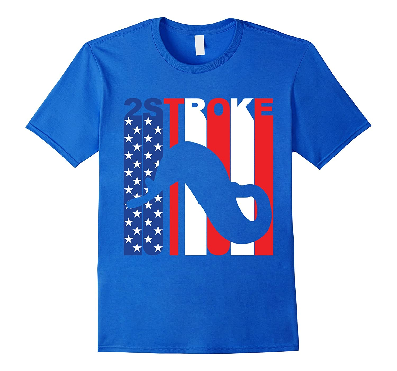 2 Stroke American Flag Motocross T-Shirt-Vaci