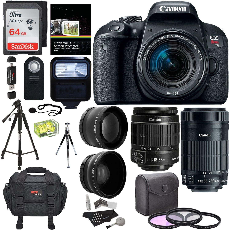 Canon EOS REBEL T7i EF-S 18-55 IS STM Kit, EF 55-250mm II, 64GB Memory Card, Wide Angle, Telephone Lens, 48'' Tripod and Accessory Bundle