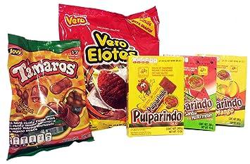 Mexican Spicy Candy. Variedad de Dulces de Mexico como Paletas Con Chile Vero, Tamaros