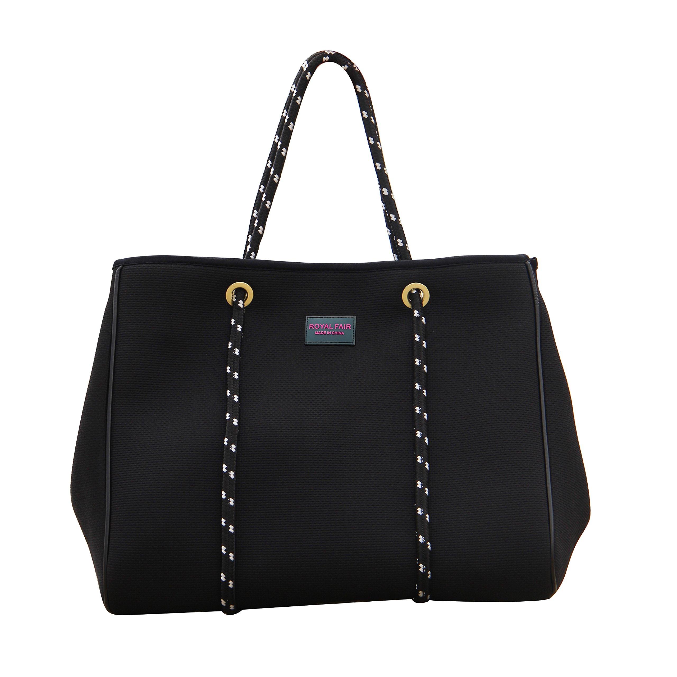 Beach Bags for Women Multifunctional Waterproof Travel Totes with Inner Zipper Pocket Royal Fair (Black)