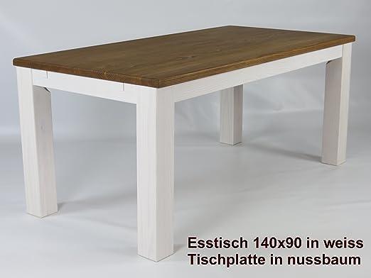 Mesa de comedor 140 x 90 cm en color blanco madera maciza de pino ...