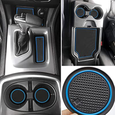 Auovo Anti dust Mats for Dodge Charger 2015 2016 2020 2020 2020 2020 Accessories Custom Fit Door Cup Holder Pads Console Liners(24pcs/Set, Upgrade) (Blue Trim): Automotive