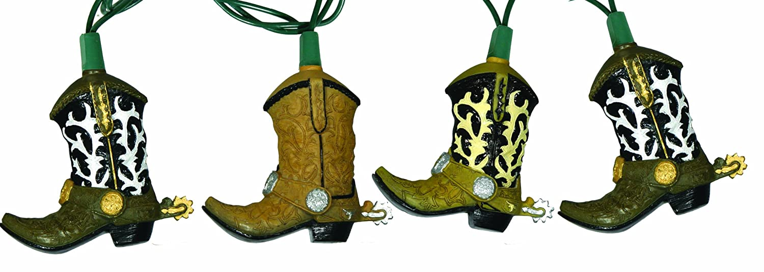 Cowboy Boots String Light Set Indoor Outdoor Party 10 Piece Western Decor