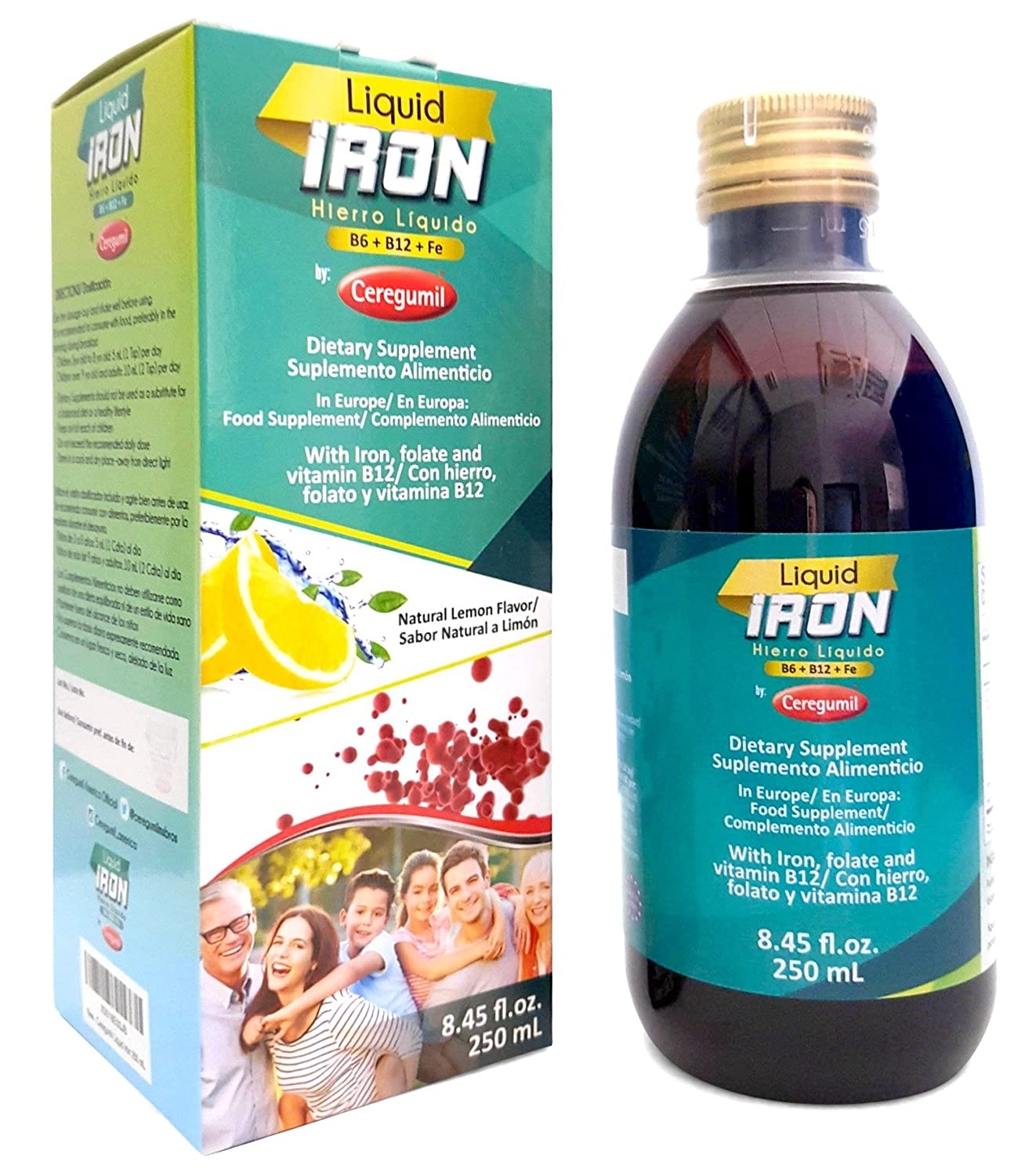 Amazon.com: Ceregumil Liquid Iron Supplement for Anemia w/Cyanocobalamin Vitamin B12 - Folic Acid - with Fresh Lemon Taste Energy Booster High Potency ...