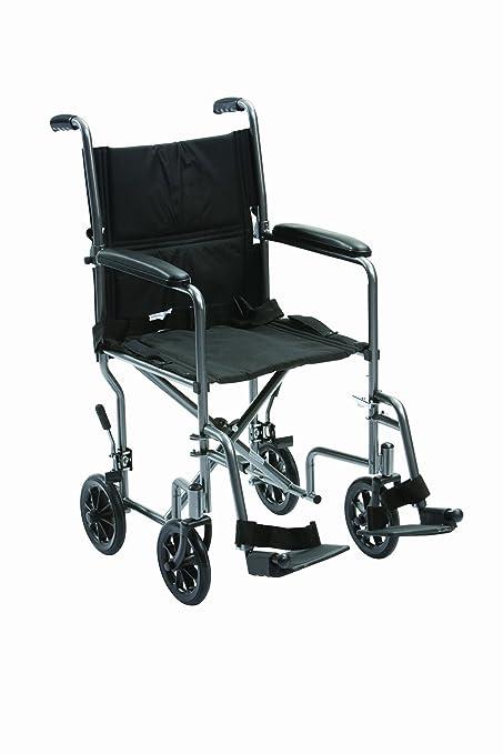 Drive Medical TR-39ESV - Silla de ruedas de viaje (acero, 48,