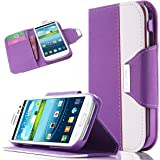 S3 Case, Galaxy S3 Case - ULAK [Kickstand Feature] Wallet Case Credit Card Holder PU Leather Flip Case Magnetic Cover Samsung Galaxy S3 III i9300 w/ Built-in Card Slots Stand(Purple/White)