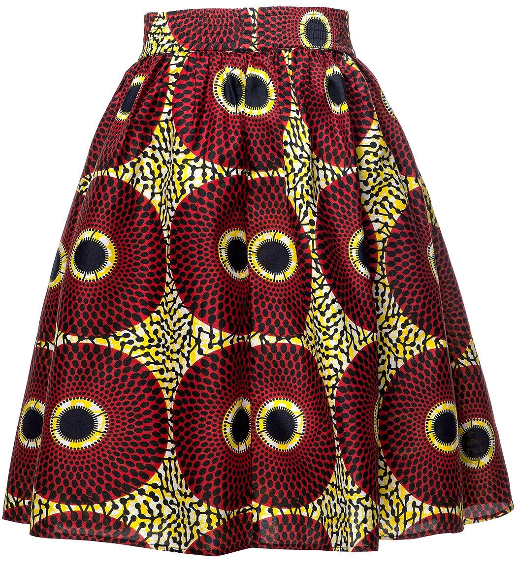 Shenbolen Women African Traditional Costume Flower Print Casual Dashiki Skirt (X-Large, E) by Shenbolen (Image #2)