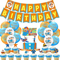 Blippi Birthday Party Decorations Blippi Balloons Blippi Cake Toppers Party Supplies for Kids Birthday for Girls and…