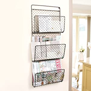 Retro Living Three Compartment Wall Mounted Homework Storage Rack H72 x W29 x D8.5cm (Y476)