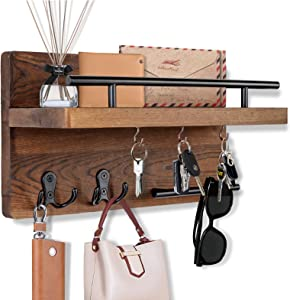 OurWarm Key Holder for Wall Decorative with 5 Key Hooks, Wall Mounted Key Hangers for Wall with Mail Key Rack, Wooden Mail Organizer with Shelf, Rustic Home Decor for Entryway Mudroom Hallway Office