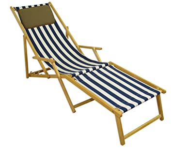 Amazon.de: Erst-Holz Strandliege blau-weiß Liegestuhl ...