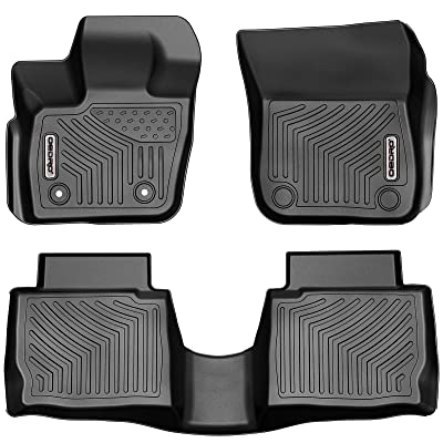 oEdRo Floor Mats Compatible with 2020-2020 Ford Fusion/Lincoln MKZ All Models, Black TPE All-Weather Guard, Front & 2nd Seat Liner Set: Automotive