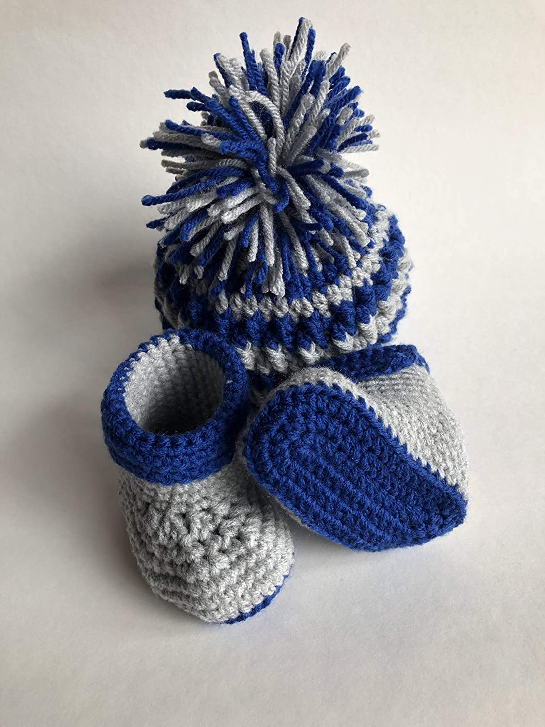 Handmade baby boy gift set, Pom Pom Beanie and Matching Booties, 0-6 months, Blue/Grey
