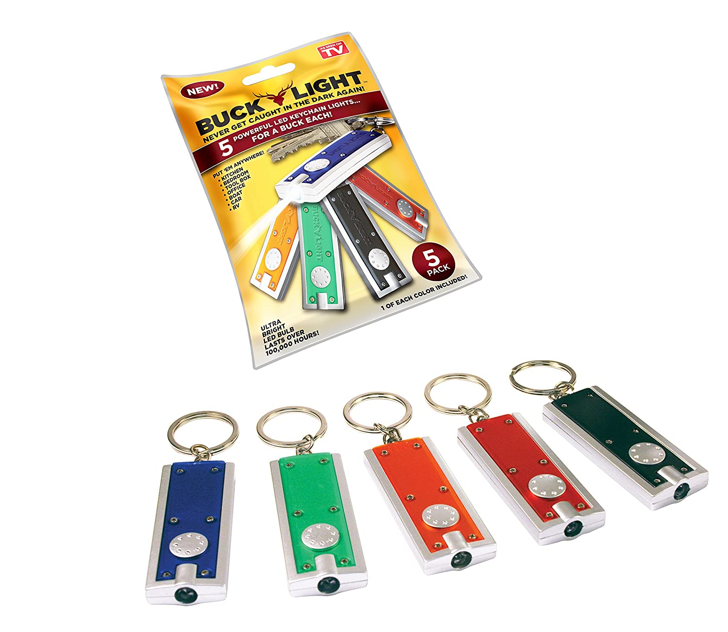 Buck Light: Powerful LED Keychain Lights, 5 Pack, Assorted Colors, Ultra Bright Flashlight, Portable Key Chain Flash Light