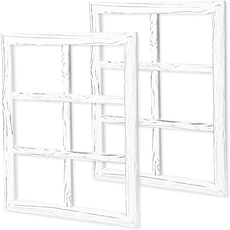 Ilyapa Window Frame Wall Decor 2 Pack - Large 18x22 Inch Weathered White Wood 6 Pane Window Country Farmhouse Decorations