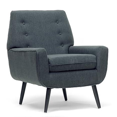 Amazon.com: Baxton Studio Levison Linen Accent silla moderna ...