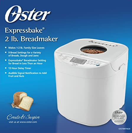 Oster 2-Pound Expressbake Bread Machine with 13-Hour Delay Timer, CKSTBRTW20