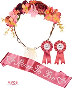 Baby Shower Decoration for Girl, Mother To Be Flower Crown, Mom To Be Mommy to be Sash and Mommy to be Pin, Dad To Be Pin, Baby Shower Party Favors Decorations Gift, Mother to be Sash