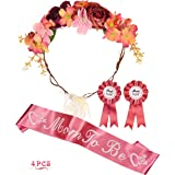 Baby Shower Decoration for Girl, Mommy To Be Flower Crown, Mom To Be Mommy to be Sash and Mommy to be Pin, Dad To Be Pin, Bab