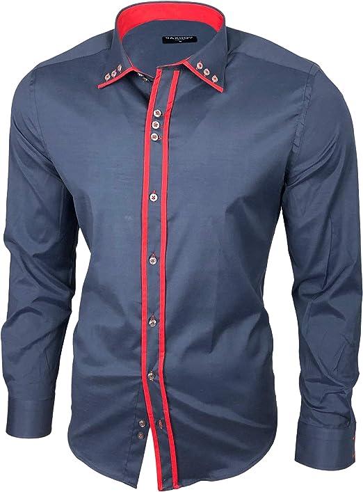 Baxboy B-500 - Camisa de manga larga para hombre, para negocios, tiempo libre, bodas, plancha, ajustada Antracita/Rojo_1. M: Amazon.es: Ropa y accesorios