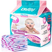 Super Absorbent Disposable Changing Pads with Stickable Corners for Baby & Kids - 17 X 27 Inches Large Chucks Pads - 25 Pack Waterproof Disposable Placemats by Bububaby