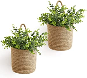 Dahey 2 Pack Jute Rope Hanging Basket with Artificial Eucalyptus Wall Hanging Baskets Woven Storage Organizer Fern Flower Plants Basket Decor Set Rustic Farmhouse Porch Living Room Home Decorations