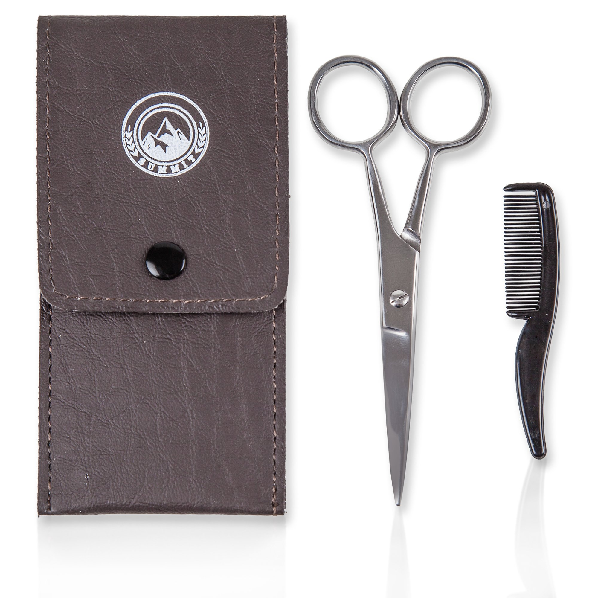 Facial Hair Scissors - Stainless Steel, Top Quality - Ear and Nose Hair Removal - Easy to Use At Home or When Traveling - Includes Case and Grooming Comb