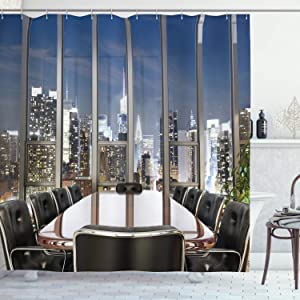"Ambesonne Modern Shower Curtain, Business Office Conference Room Table Chairs City View at Dusk Realistic Photo, Cloth Fabric Bathroom Decor Set with Hooks, 75"" Long, Black Grey"
