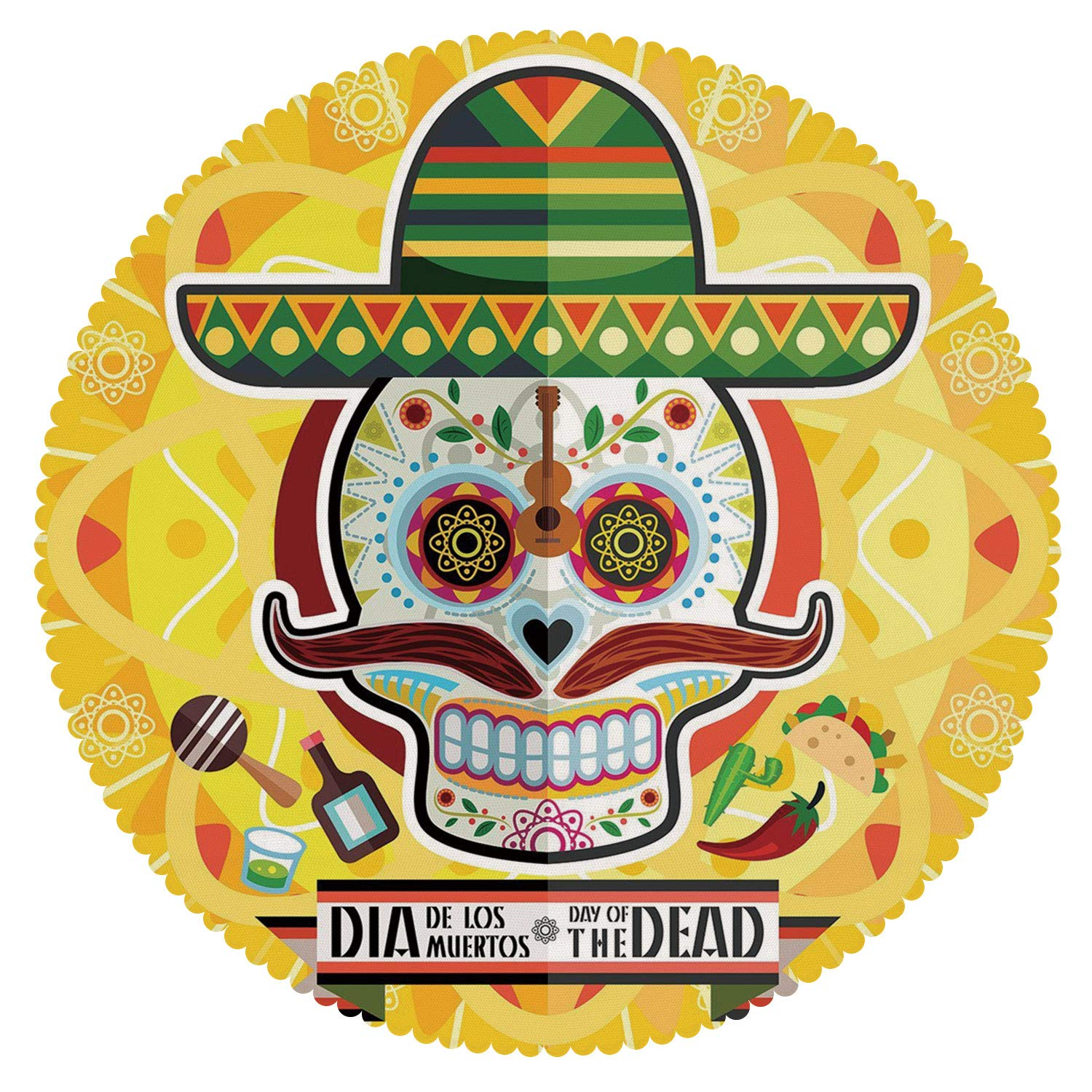 iPrint Round Tablecloth [ Day of The Dead Decor,Mexican Sugar Skull with Tacos and Chili Pepper November 2nd Colorful Art,Yellow ] Fabric Kids Home Tablecloth Designs